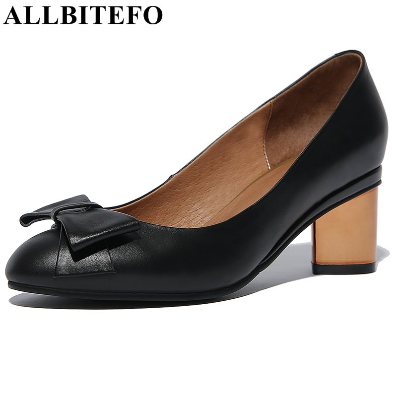 ALLBITEFO 2018 new spring full genuine leather high heels office ladies shoes woman fashion bowtie high heel shoes women pumps allbitefo fashion sexy thin heels pointed toe women pumps full genuine leather platform office ladies shoes high heel shoes