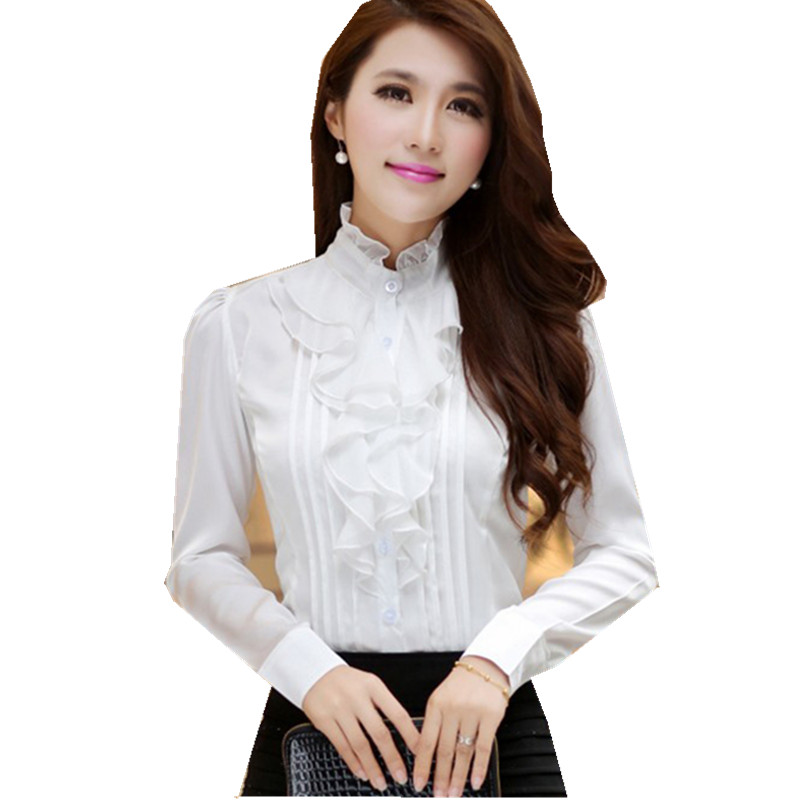 Fantastic Sexy Hollow Front Lace Up Long Sleeve Blouse White Chiffon Tops Shirt