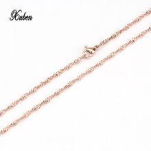 xuben Stainless Steel Silver Necklace Fashion Jewelry 2.4 mm 32 Inches 80 cm Box Chain(China)