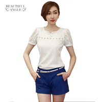 2015 New 1PC Lady Women Lace Short Sleeve Shirt V Neck Doll Chiffon Plus Size Blouse