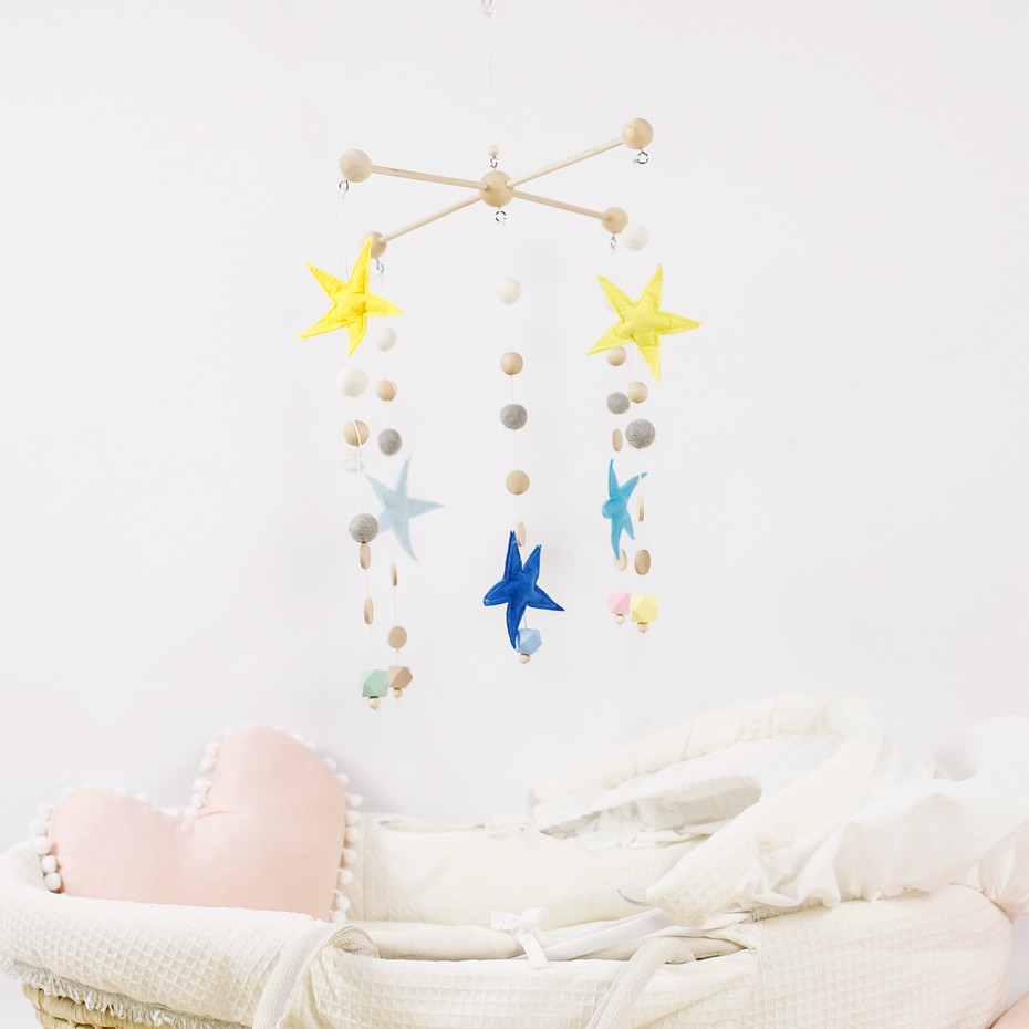 Us 25 0 50 Off Diy Nursery Mobile Baby Crib Mobile With Five Star Hand Making Made For Order Felt Nursery Decor Home Decor Ornaments In Baby Rattles