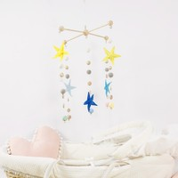 DIY Nursery Mobile Baby Crib Mobile With Five Star Hand Making Made For Order Felt Nursery Decor Home Decor Ornaments