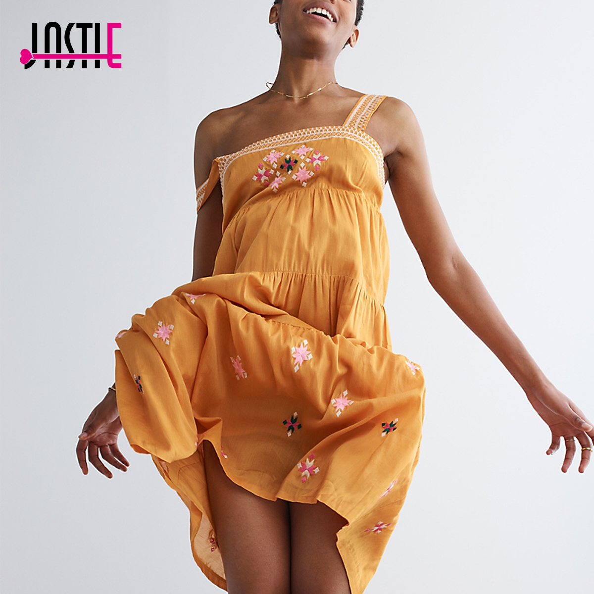Jastie Coton Brodé Primevère Robe Boho Chic Femmes Robe Sans Manches Sangle Casual Plage Midi Robes 2018 D'été Robes