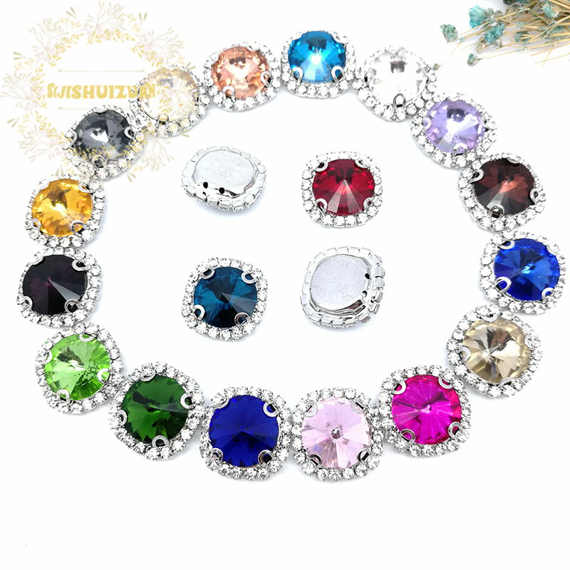 Crystal Violet Satellite Shape Drill Side Chain Crysta Glass Sewing Rhinestones with Claw DIY Womens Shose and Wedding Dresses