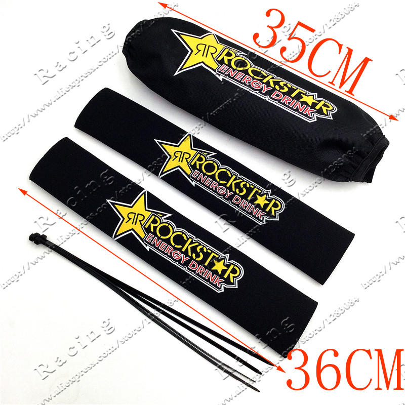 Rockstar Front Fork Protector Rear Shock Absorber Guard Wrap Cover For CRF YZF KTM KLX Dirt Bike Motorcycle ATV Quad Motocross 27cm rear shock absorber suspension protector protection cover for cr ttr 50 80 110 pit dirt bike motorcycle atv quad motocross