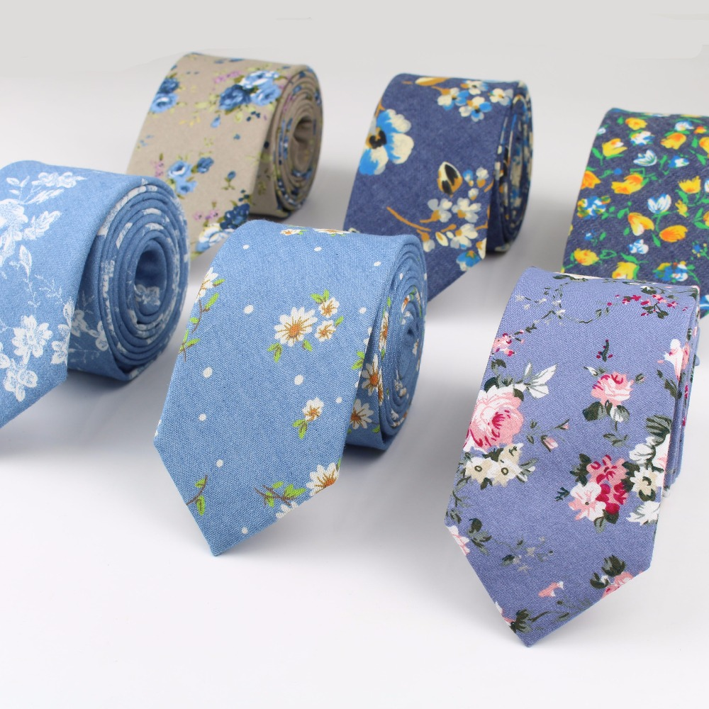 Flower Cotton Necktie Skeleton Artificial Skinny Ties Men Tulip Small Tie Anchor Designer Star Cravat Paisley(China)
