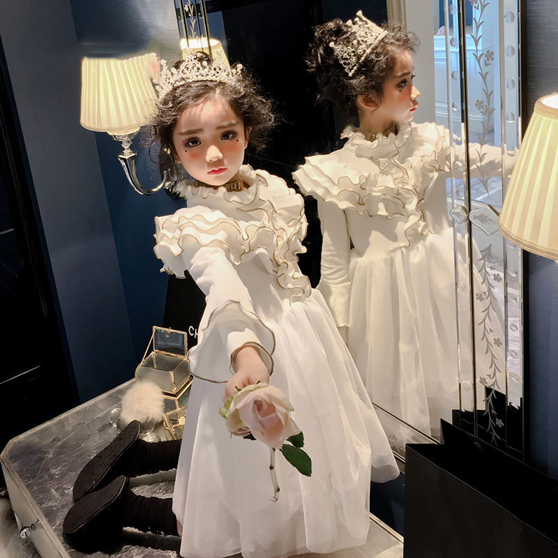 c638d0191419b 3-12 Years White Luxury Princess Dress Long Sleeve Tulle Ruffles Flower  Girl Dresses for Wedding Wine Red Kids Birthday Party