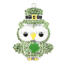 1PC Green St Paddys Day Owl Shamrock Saint Patricks Rhinestone Pendant for Chunky Necklace Bubblegum Necklace