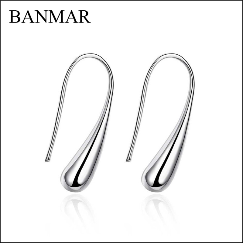 BANMAR Fashion Alloy Silver Geometry Cute Earring Waterdrop Teardrop Raindrop Hook Silver Plated Earrings Hot Sale Jewelry