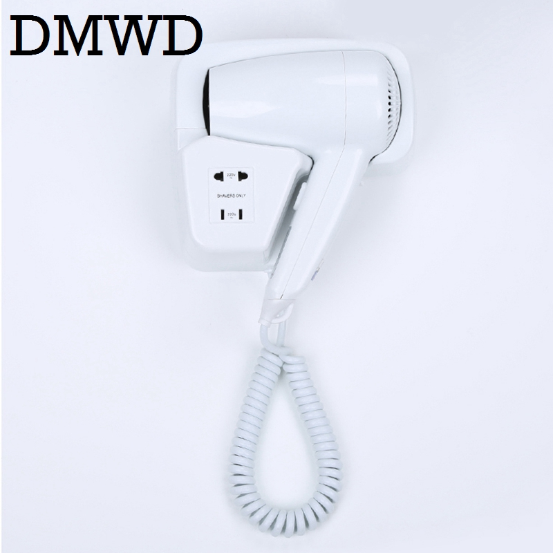 DMWD Hot Wind blow Hair Dryer electric Wall Mount Hairdryers Hotel bathroom household dry skin hanging wall Blowers with stocket