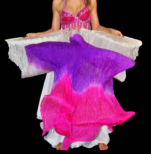 Belly Dance Veil Fan Stage Performance Real Silk Dance ...