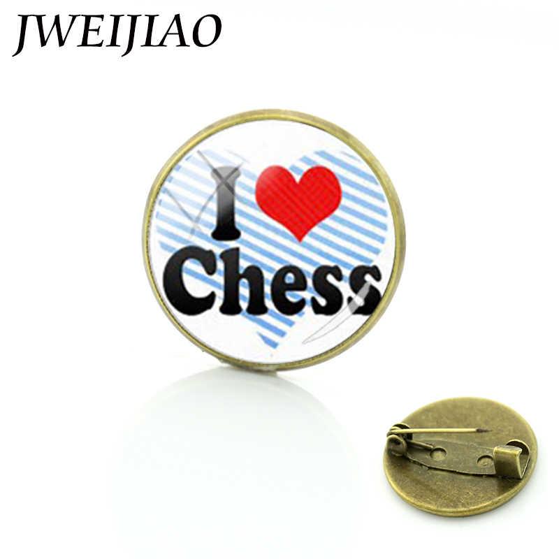 JWEIJIAO Новое прибытие я люблю Броши с рисунком на тему шахмат коллекция памятных по шахматам влюбленных женщин Мужская Брошь шпильки ювелирные изделия E590
