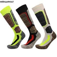 ФОТО cotton men women long skiing sports sock breathable towel bottom thicken climbing camping hiking sport socks 3 colors wholesale