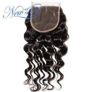 Image 1 - ניו סטאר שיער ברזילאי Loose עמוק 5x5 תחרה 3 חלק סגרים 100% לא מעובד חדש כוכב בתולה שיער טבעי טבעי צבע תינוק שיער