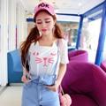 Japanese Mori Casual Cute T Shirt For Women Korean Print Letter Kawaii Cartoon Tops Short Sleeve Loose Cotton White Tee Shirts