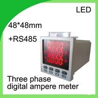 Drie fase digitale ampèremeter LED stroom meter 48*48 ampèremeter met RS485 communicatie 3 fase elektrische meter