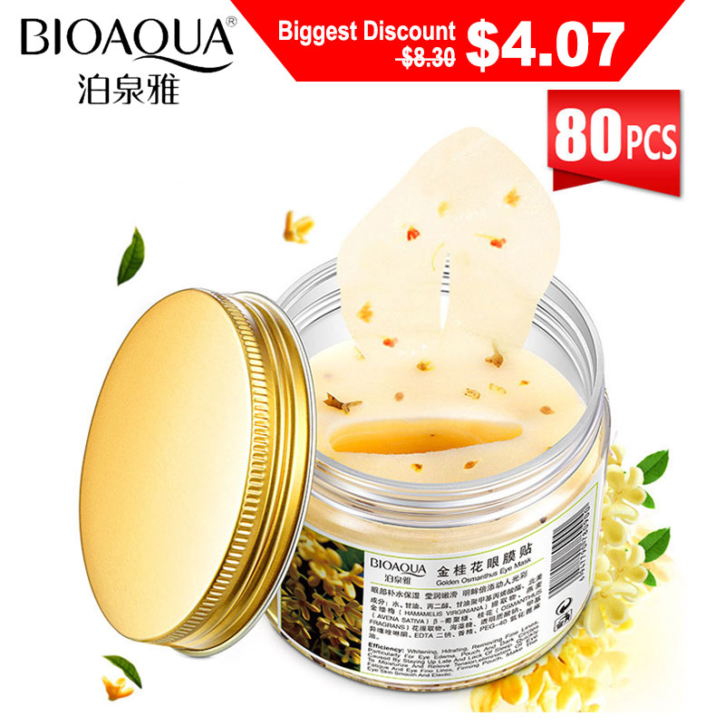 BIOAQUA Eye Patches Gold Osmanthus 80pcs/Bottle Mask for the Face Whitening Anti-Aging Remove Dark Circles Eye Bags Patches(China)