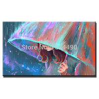 Handmade Unique Gifts Oil Paintings The Girl Open An Umbrella In The Rain Wall Pop Art Pictures For Home Decor Free Shipping