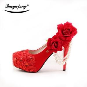 Image 3 - Lot de chaussures de mariage pour femmes, couleur rouge, chaussures de mariée à talons hauts à plateforme, semelle rouge 8cm/11cm/14cm, nouveauté