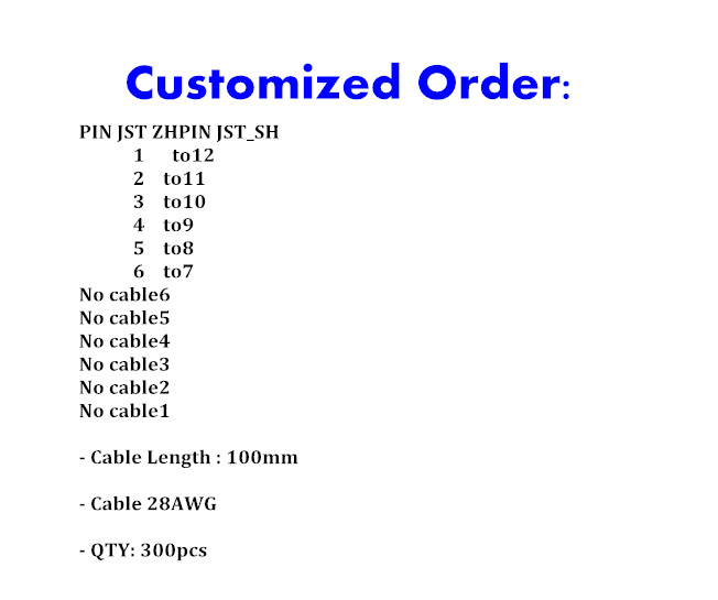 Cusomizer Order JST 28awg 100mm connector cable 300pcs lot
