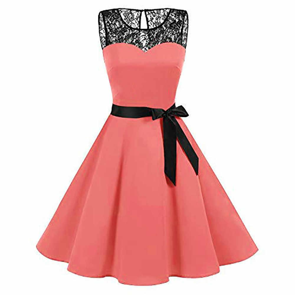 Sexy elegant dress Women Sleeveless Solid Lace Hepburn party dress Fashion Vintage Swing High-Waist Pleated patchwork Dress