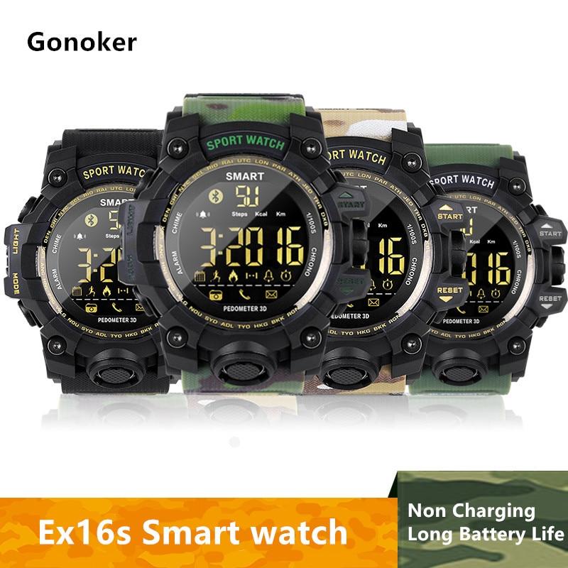 Gonoker EX16S Intelligente Orologio Pedometro Smartwatch Cronometro Astuto Della Vigilanza Degli Uomini di Chiamata/Messaggio di Promemoria Intelligente del braccialetto DZ09 Q18 Y1 X6 v8