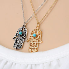 Fashion Hand Of Fatima Hamsa Pendants Necklace For Women Thin Alloy Chain For Palm Statement necklace(China)