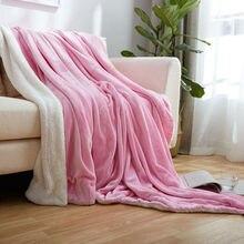 Nueva 2 Capas de Color Rosa Blanco Sherpa Manta Solid Plaid Manta Regalo de navidad Caliente Bereber de lana Mantas para Camas Sofá Informal lanza