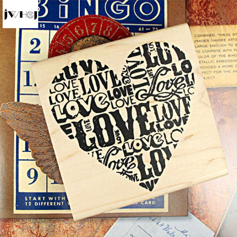 цена на JWHCJ Very large vintage heart shape wooden rubber stamp Kids DIY Handmade Scrapbook Photo Album, students Stamp Arts, Crafts