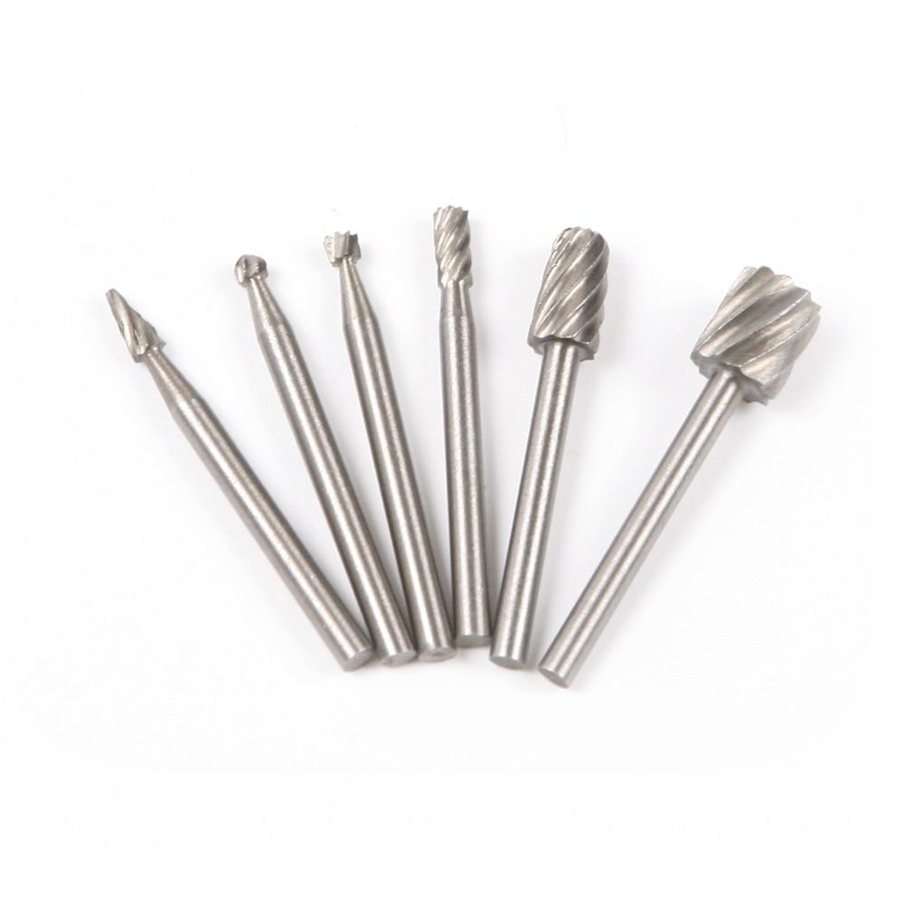 6PC 1/8 / 3,175mm HSS ruuteri bitid Burr pöörlevad tööriistad ülikond Dremel Puidu ruuteri bit pöörlev tööriist puunikerdamiseks
