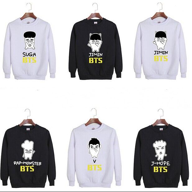 KPOP Bts BangTan Boys comics logo Jung kook Jimin Jin J hope Suga fashion sweatershirt cotton hoodies