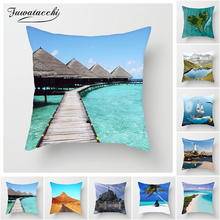 Fuwatacchi Balinese Scenic Cushion Cover Beach Sunlight Ocean Trees Pillow Cover for Home Sofa Chair Decorative