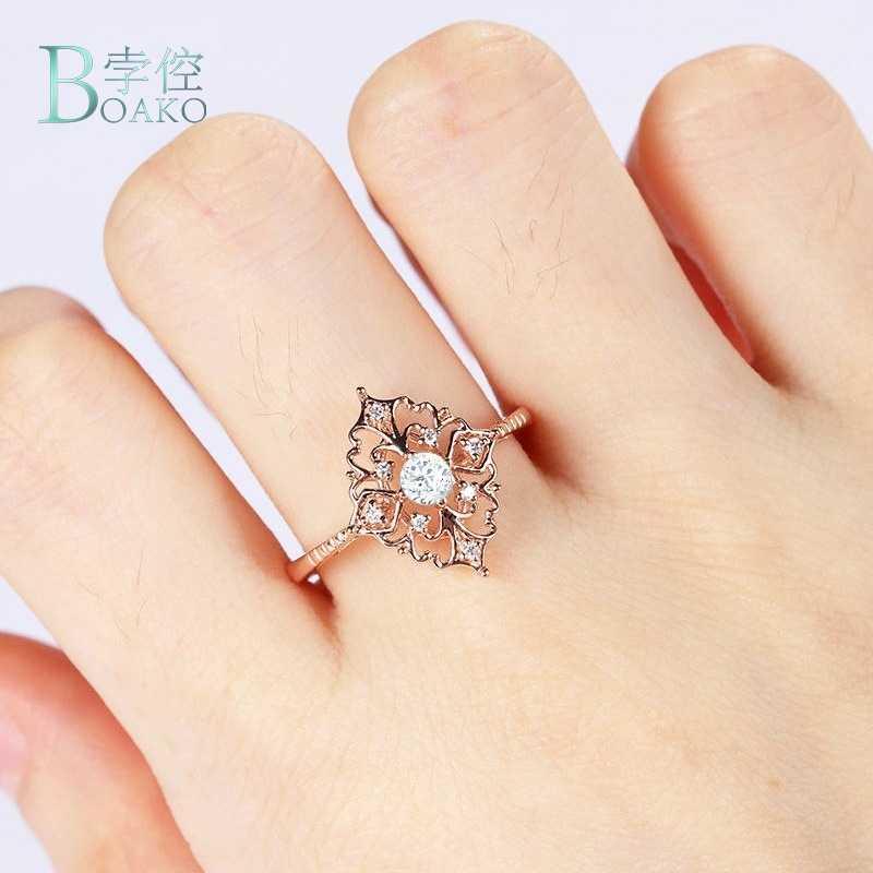 BOAKO Hollow Retro ดอกไม้แหวน Zircon แหวนผู้หญิง Luxury Rose ดอกไม้รูปร่าง Rngagement แหวนเครื่องประดับ anillos