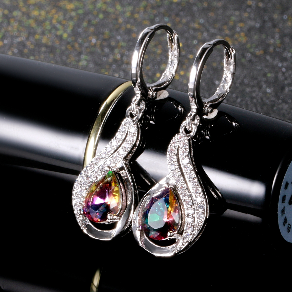 Luxury Jewelry Earrings Women's Water Drop Silver Earrings With AAAA Zircon New Fashion Fine Jewelry Girl Daily Life Accessories 3