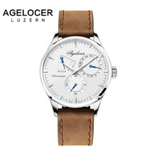 Agelocer Swiss logo luxury men watches roles silver gold dress roman automatic watch male auto date