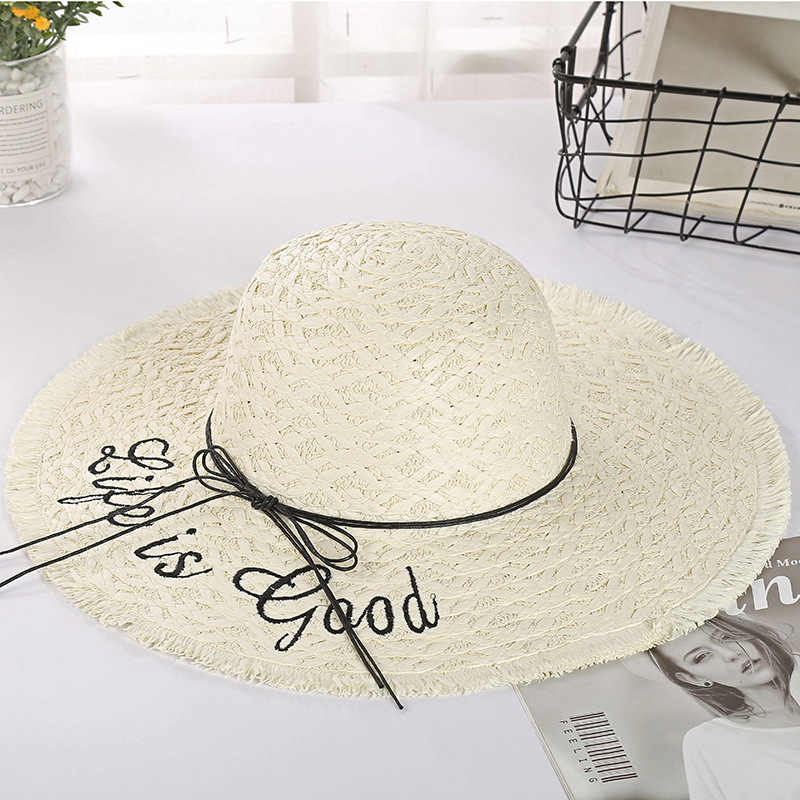 Summer Small Fresh Letters Embroidered Sun Hats Female Straw Hat Bow Visor Beach Wide Brim Hat Panama Hats sombreros de playa