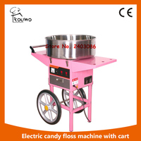 Electric Commercial Cotton Candy Machine Candy Floss Maker Pink Cart Stand