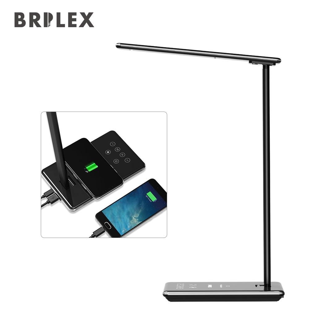 Lámpara de escritorio LED Luz de mesa cargador inalámbrico para teléfono Estudio trabajo lectura Oficina regulable 4 modos de iluminación inteligente tiempo Brilex