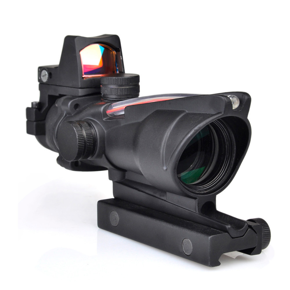 WIPSON ACOG 4X32 Style Real Red  Fiber Source Duel Illuminated Rifle Scope Sight With Mini Red Dot Sight for Hunting цены онлайн