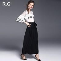 RG Elegant White Black Women Office Business Pants Suit Mandarin Flare Sleeve Lace Crop Top Wide