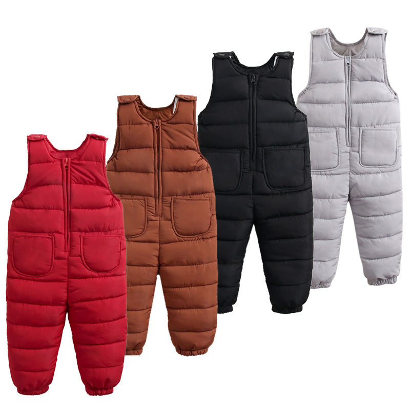 Children'S Down Jacket Pants Baby Boys Outside Crotch Strap Winter Girls Kids Trousers Thick Down Vest Windproof