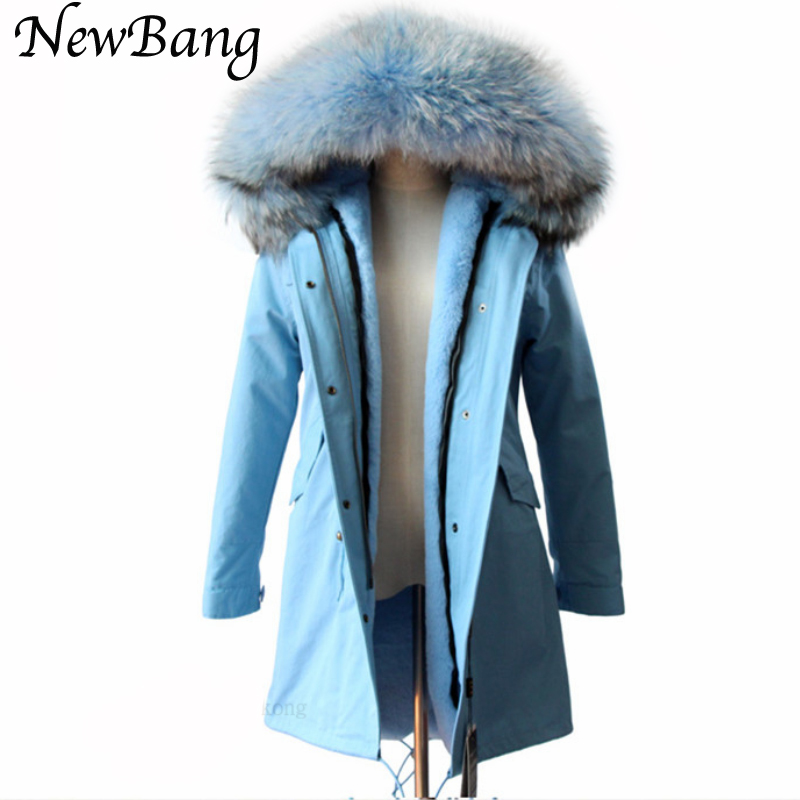 Women Winter   Parkas   Large Real Raccon Fur   Parka   Blue Faux Fur Liner Thickening Long Jacket Overcoat