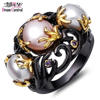 DreamCarnival 1989 Pink White Created Pearls Vintage Ring for Women Purple CZ Frauenringe Gothic Mujeres anillo Perla Wholesales