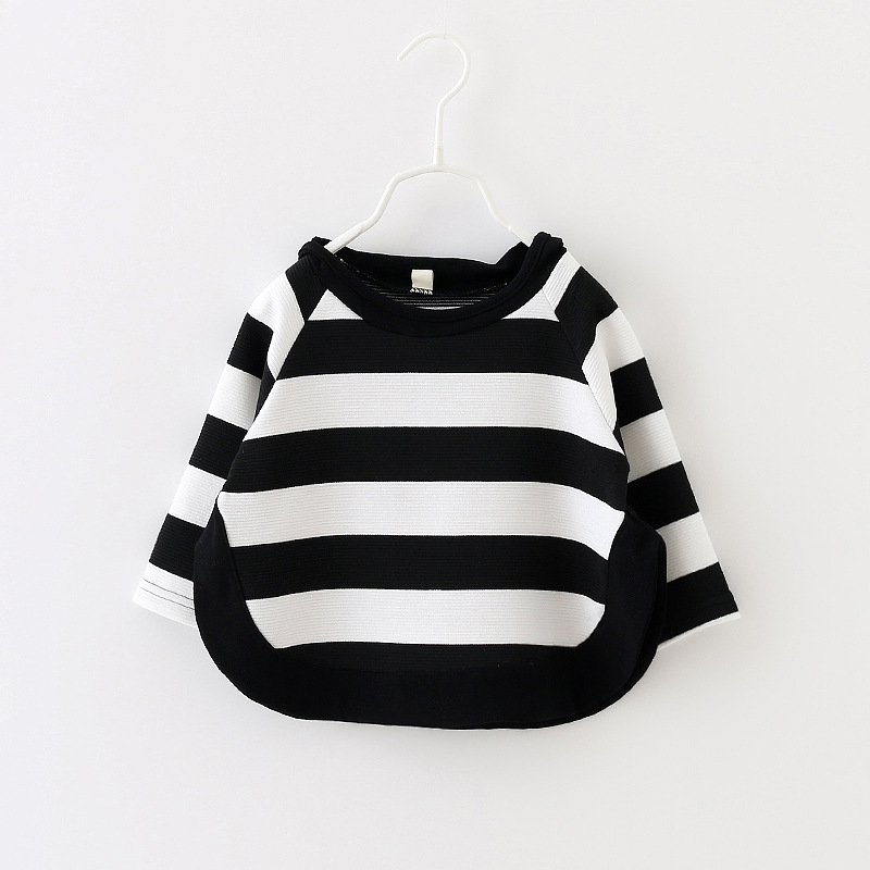 2017 autumn children Baby new casual long sleeve striped cartoon hooded cotton Sweatshirt for Girls 1-3 Years !