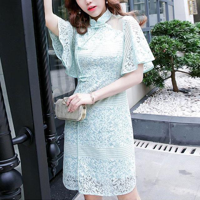 88662cad4 Luz verde de encaje corto flare manga larga elegante vestidos de las  mujeres de alta calidad 2019 de verano Oficina diseño mini vestido de mujer