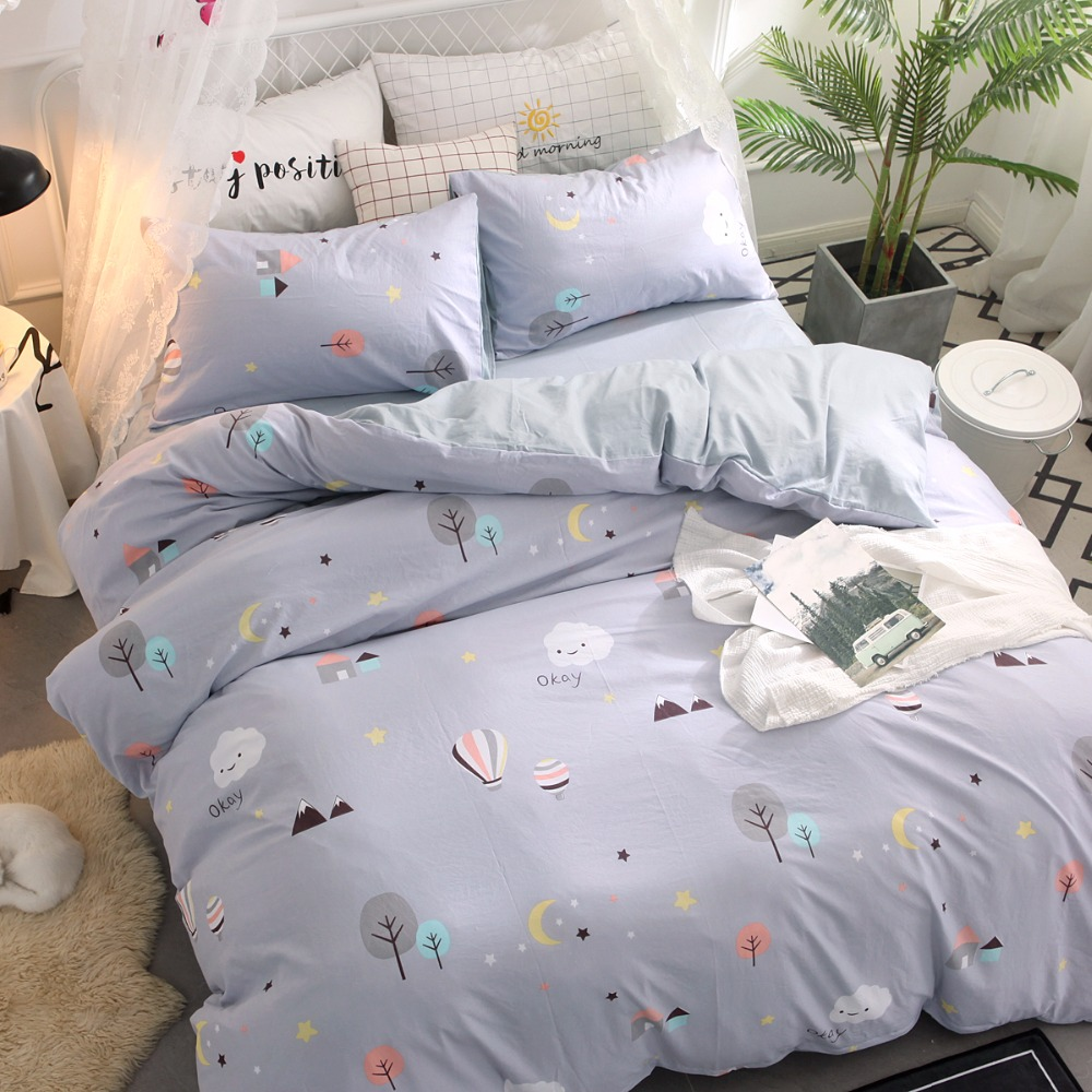 Sale Gray Hot Air Balloon Bedding Sets Printed Duvet Cover Sets