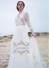Beach Wedding Dress Simple Designer Light Tulle Bride Gowns with Band Waist Sexy V Shape Front Keyhole Back Zipper Closed