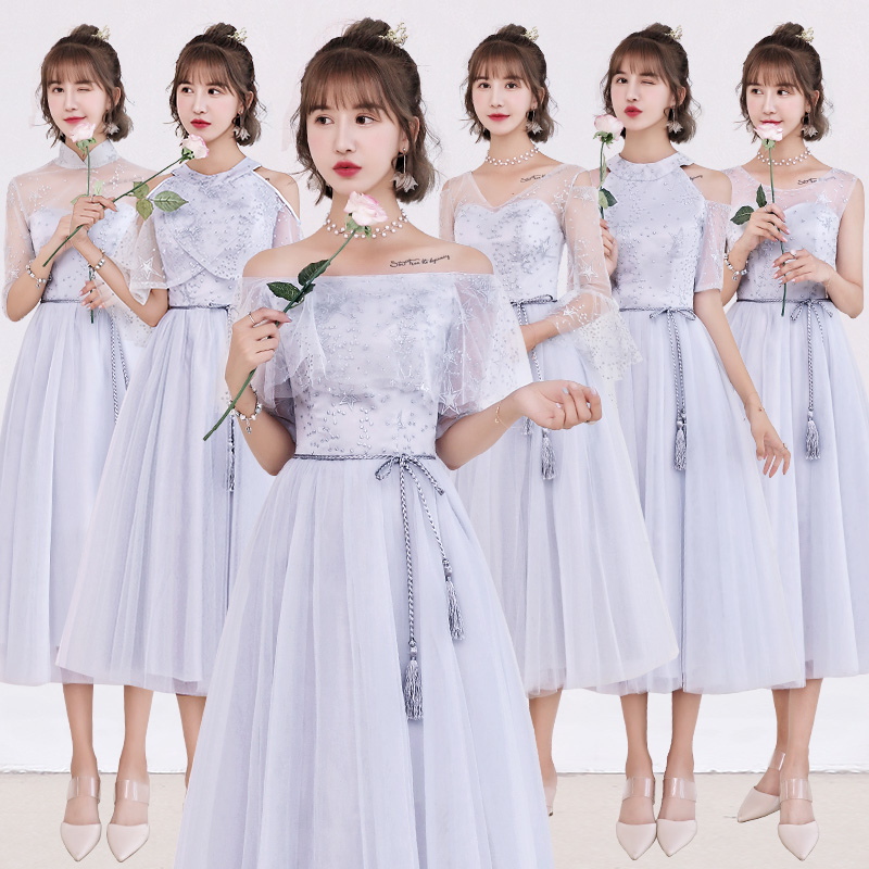 2018new stock plus size women pregnant wedding party   Bridesmaid     Dresses   flower lace sexy romantic A line grey   dresses   abe189
