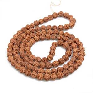 "Image 1 - משלוח חינם 10 גדילים אמיתי טבעי Rudraksha בודהי זרעי חרוזים 6 מ""מ 7mm 8mm 9 מ""מ 10mm 11mm 12mm"