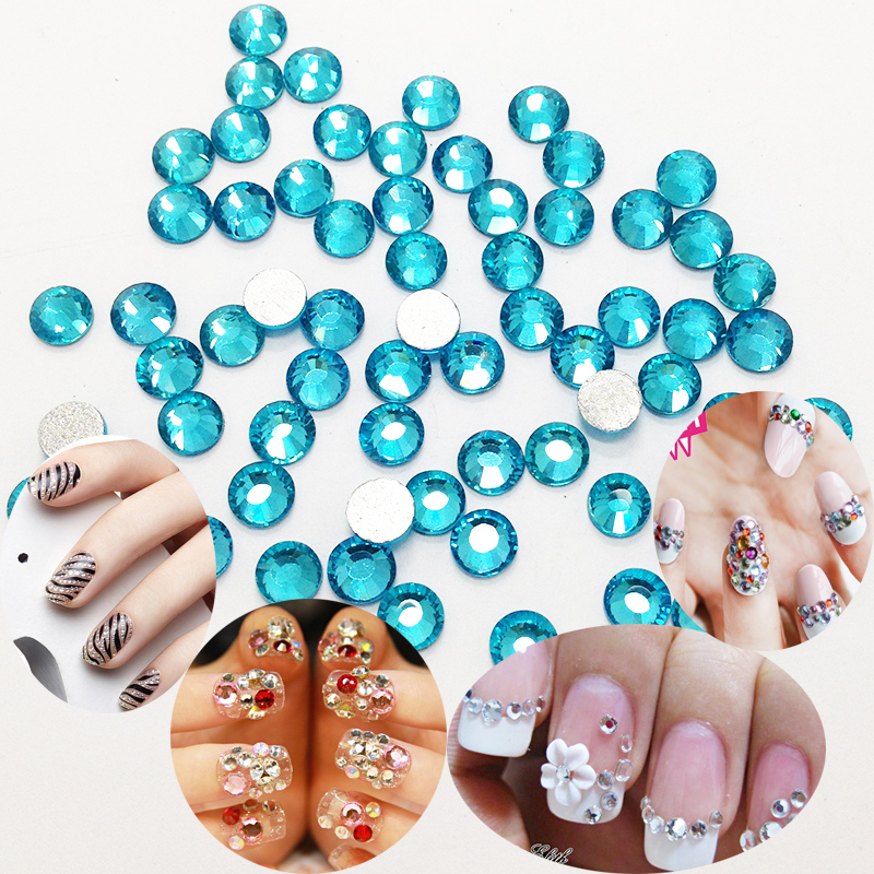 Nail Art Rhinestone Aquamarine Color SS3 to SS30 Non Hotfix Crystal Nail  Art Stones 3338f5f62f69